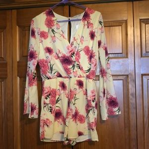 Floral cream and pink romper